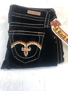 NWT Women's ROCK REVIVAL SLIM STRAIGHT VELVET Jeans BLACK SZ:25-30 INSEAM:32-33