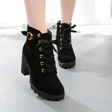 WOMEN FASHION HIGH HEEL LACE UP ANKLE BOOTS LADY PLATFORM WINTER WARM SHOES BK40