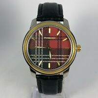 Pendleton Mens Red Tartan Plaid Dial Black Leather Band Quartz Wristwatch