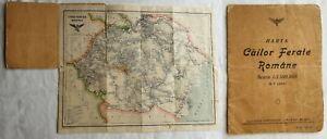 Kingdom of Romania - interwar period 1930's old Map of Romanian Railways Rare !!