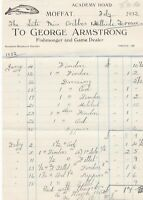 George Armstrong Moffat 1932 Fishmonger and Game Dealer Paid Invoice Ref 41703