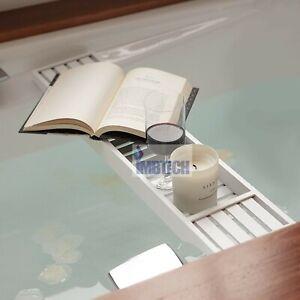 Bamboo Caddy Wood Bath Tub Rack Bathroom Shelf Tidy Tray Storage Organiser White