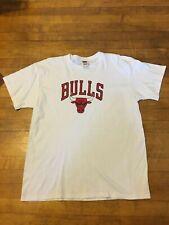 Vtg 90s Chicago Bulls T-Shirt XL White Distressed Michael Jordan NBA Vintage
