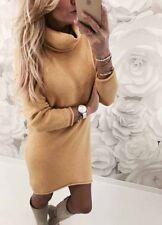2018 Womens Cowl Neck Loose Long Sleeve Oversize Sweater Jumper Shirt Tops Dress