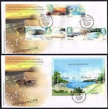 2002 Malaysia Islands & Beaches 6v Stamps + MS on 2 FDC (Melaka Cachet)