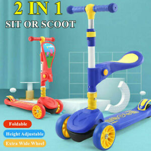 2 IN 1 SCOOTER CHILD TODDLER SIT SCOOT SCOOTER RIDE ON INDOOR OUTDOOR PUSH KICK
