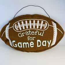 Thankful for Game Day  Football Party Decoration Wall/ Door Hanging Burlap Sign