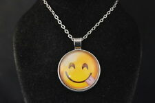 EMOJI  Wise Guy Tongue Out Cabochon PENDANT -  NECKLACE  New  Jewelry USA SELLER