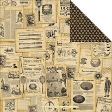 Graphic 45 scrapbook paper Good Old' Sport  baseball football 5p Game Day Ads