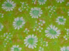 """Vtg Cotton MOD Floral Fabric Lime Green White Daisies 36"""" x 2.5+ yds"""