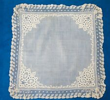 More details for antique (1880s)  handkerchief with valenciennes lace border - wedding gift -