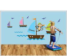 Monkey and sailboats wall decal sticker baby nursery boy girl