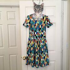 LuLaRoe Amelia Dress Small Bright Geometric Soft Stretchy Exposed Zipper Trendy