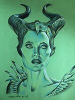 Maleficent Original Pencil Drawing Fan-Art A4 . Angelina Jolie