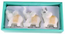 Feng Shui 3 White Jade Elephants Set Trunk Statues Wealth Figurine ~ US Seller