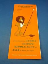 Ethopian Airlines Timetable Schedule April 1972 Africa Europe Middle East Asia