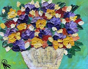 MARINA REHRMANN Original Acrylic Painting Abstract Flowers Pot Texture 16 x20 🧿