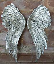 2 XL Engelsflügel Wanddeko Engel Wandhänger Silber Wandskulptur Flügel groß Neu