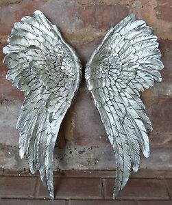 2 XL Engelsflügel Wanddeko 3 D  Engel Wandhänger Silber Wandskulptur Flügel Neu