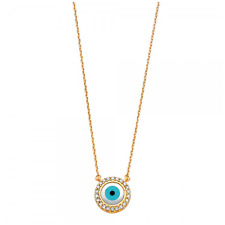 14K SOLID YELLOW GOLD CZ Evil Eye Necklace Pendant + Rolo Chain - Blue Good Luck