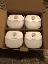 NEW - AUVON Plug-in LED Motion Sensor Night Light - Mini Warm White LED (4 Pack)