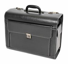 Large Traditional Attache Case Leather Look Sales Rep Bag Pilot Case Briefcase