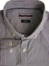 TOMMY HILFIGER TAILORED Shirt Mens 15.5 M Dark Blue & White Check SLIM FIT