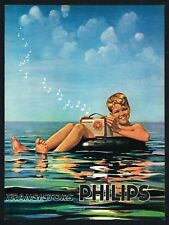 PHILIPS RADIO AD TRANSISTOR ADVERT Original 1960 Vintage Print Ad*Retro