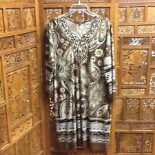 TIANA B. Brown Paisley Print Poly Dress w/ Embroidery Placket at Neckline Sz XL