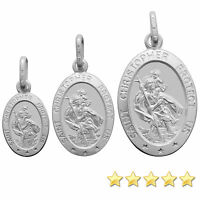 925 Sterling Silver Oval St Saint Christopher Pendant & Gift Box