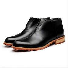 Men Dress Leather Shoes Formal Casual Ankle Boots Deluxe Black Brown Wine Red @T