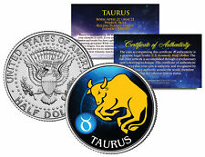TAURUS Horoscope Astrology Zodiac Kennedy U.S. Colorized Half Dollar Coin