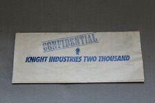 Knight Rider K.I.T.T. Plans Diagrammatic Overview Original Vintage 1980s Nbc Tv