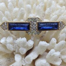 Vintage BAR BROOCH PIN Blue Rectangle Rhinestone Clear Pave Glass Rhinestone