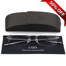 Unisex Lightweight Rimless Frameless Rectangle Reading Glasses Mens Womens Hinge