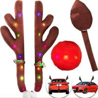 Car Reindeer Antlers Rudolf Nose Decoration Kit Christmas Theme Vehicle Auto d d