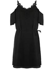 Oasis Size 8 Black Cold Shoulder Lace Trim DRESS Evening Party Occasion New £45