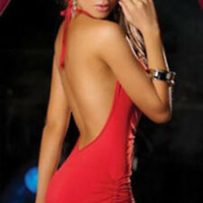 Women Sexy Halter V Neck Backless Bodycon Evening Party Cocktail Club Mini Dress