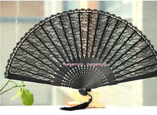 High Quality Japanese Fold Clear Hand Lace Dance Flower Bamboo Pocket Fan Black