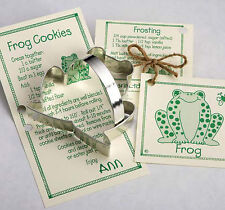NEW Ann Clark Tin Frog Cookie Cutter w/ Cookie & Frosting Recipe Card Made USA
