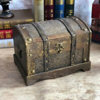 Retro Wooden Pirate Treasure Chest Box Gem Jewelry Trinket Keepsake Storage Case