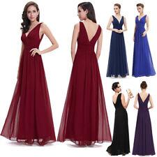 UK Women Chiffon Long Evening Formal Party Ball Gown Prom Bridesmaids Maxi Dress