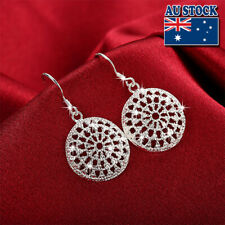 Classic Antique 925 Sterling Silver Filled Solid Round Drop Earrings