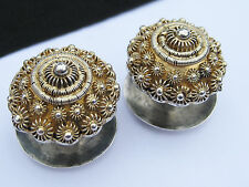 Antique Victorian George Day Sterling Silver Gold Gilt Filigree Cufflink Buttons