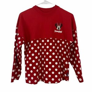 Disney Parks Spirit Jersey Minnie Mouse Red polka dots sweatshirt made in USA YL
