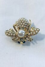 Joan Rivers Pearl Bee Brooch With Green Eyes