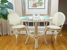 3 Pc Denver Rattan Dining Set Round Table Glass Top+2 Side Chairs.White Wash