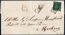 1858 - Lettera da Finale di M. a Modena  resa franca con cent.5 verde (n.7)
