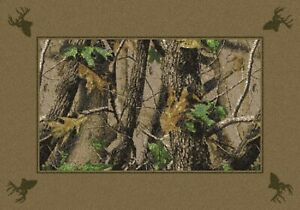 Milliken Realtree Collection Hardwood Green Solid Border Area Rug