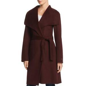 Tahari Womens Ellie Purple Winter Wool Dressy Wrap Coat Outerwear L BHFO 3887
